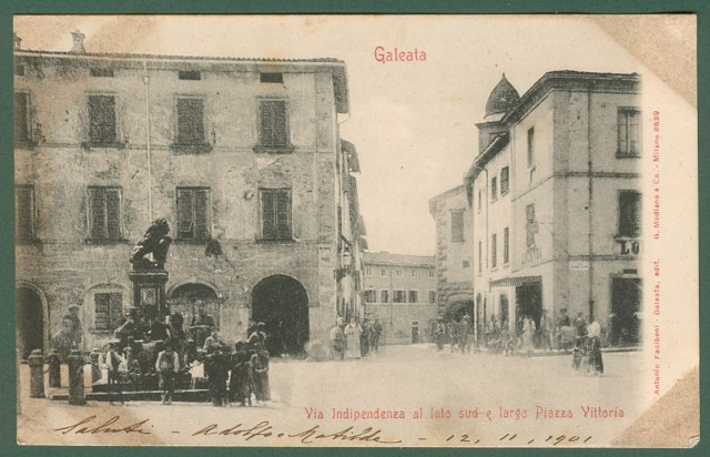 GALEATA, Forlì. Via Indipendenza e largo Piazza Vittoria. Cartolina d'epoca viaggiata nel 1901.