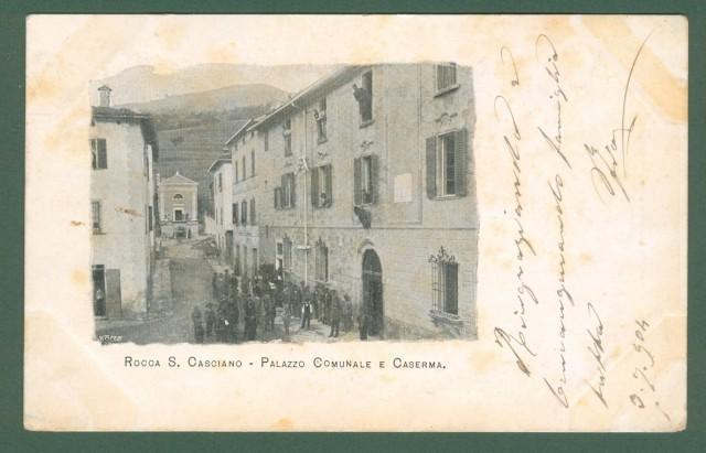 ROCCA S. CASCIANO, Forlì. Palazzo Comunale e Caserma. Cartolina viaggiata nel 1904.