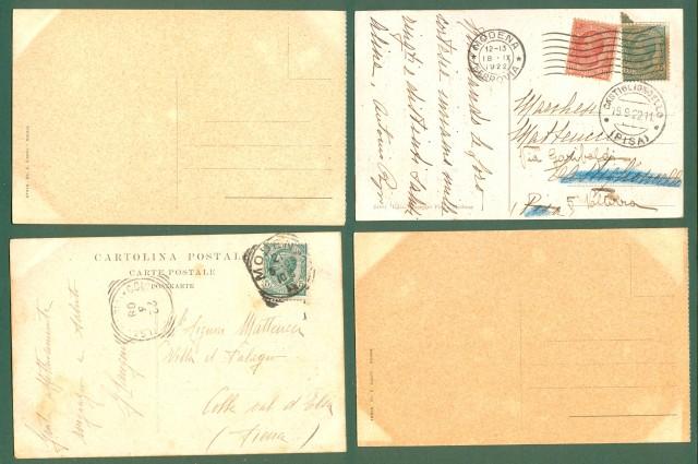 Emilia Romagna. MODENA. 4 cartoline d'epoca (due viaggiate nel 1908 e 1922).