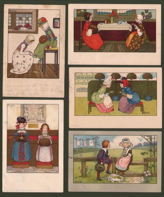 SOWERBY AMY MILLICENT. 5 cartoline d'epoca viaggiate tra il 1906 e il 1907.