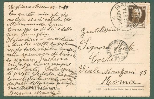 Piemonte. SAGLIANO MICCA, Novara. Saluti da. Cartolina d'epoca viaggiata nel 1930.