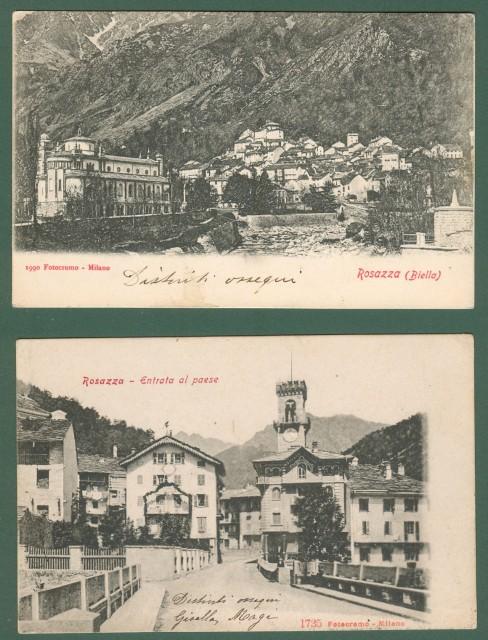 ROSAZZA, Novara. 2 cartoline d'epoca viaggiate nel 1904 e nel 1905.