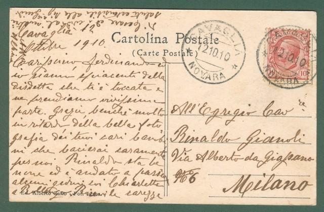 Piemonte. CAVAGLIA', Novara. Piazza del Mercato. cartolina d'epoca viaggiata nel 1910.