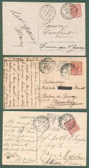 MACUGNAGA. Monte Rosa, Verbania. 3 cartoline d'epoca viaggiate tra il 1907 e il 1908.