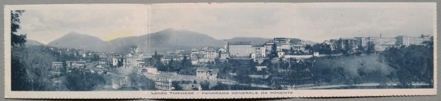 LANZO TORINESE, Torino. Panorama da ponente. Cartolina tripla (cm 42x9), non viaggiata, circa 1920.