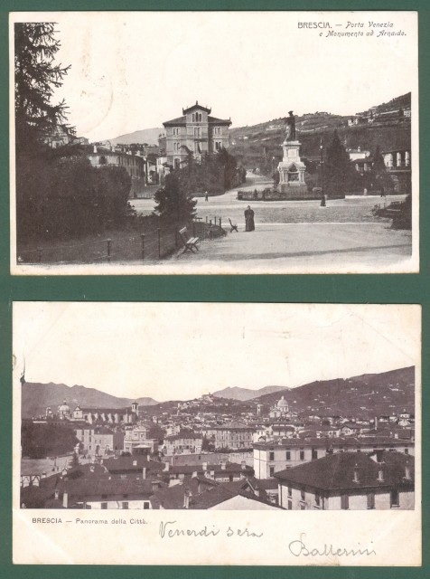 Lombardia. BRESCIA. Due cartoline d'epoca viaggiate inizio '900.