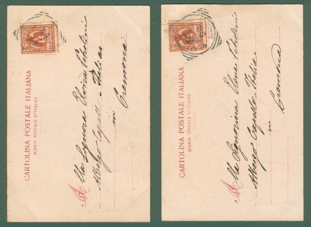 TERZI ALEARDO. Due cartoline d'epoca viaggiate nel 1903 pubblicitarie opera FAUST e TEATRO ALLA SCALA