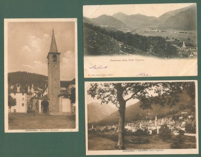 Piemonte. CRAVEGGIA, VOCOGNO, VALLE VIGENZIO, VERBANIA. Tre cartoline d'epoca viaggiate nel 1901, 1925 e 1927