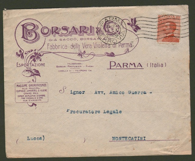 PARMA. BORSARI PROFUMI. Busta viaggiata nel 1926.