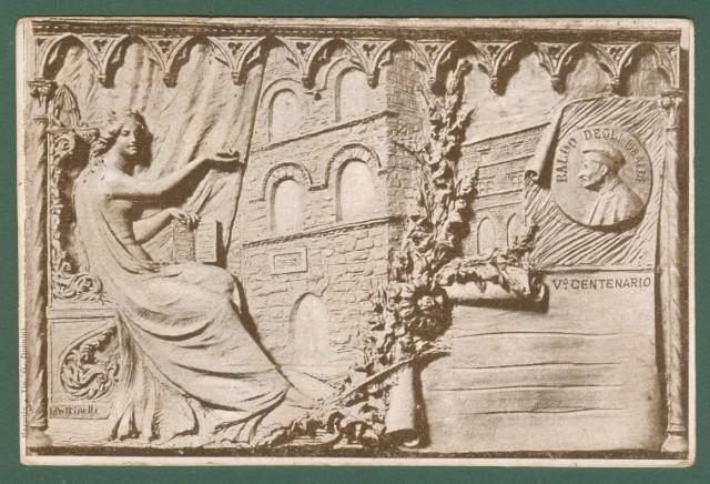 PERUGIA. V'° Centenario del giurista Baldo degli Ubaldi. Disegno di Pettinelli. Cartolina d'epoca viaggiata nel 1900