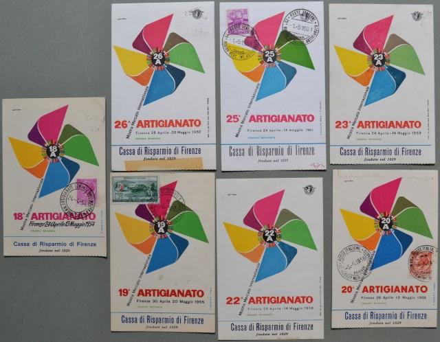 MOSTRA ARTIGIANATO FIRENZE. 7 cartoline diverse anni 1954, 1955, 1956, 1958, 1959, 1961, 1962.