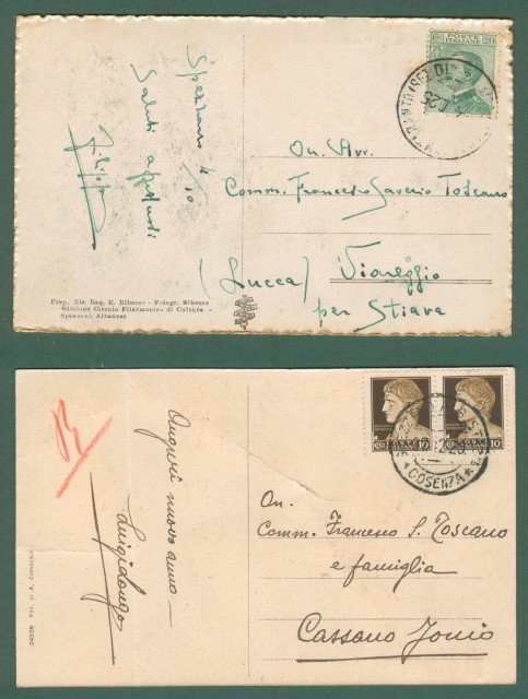 Calabria. SPEZZANO ALBANESE, Cosenza. Due cartoline d'epoca viaggiate nel 1925 e 1929.
