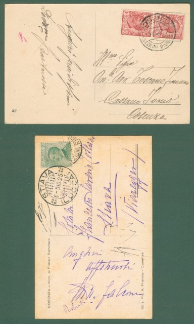 Calabria. COSENZA. Monumento ai caduti. Due cartoline d'epoca viaggiate nel 1925 e 1927