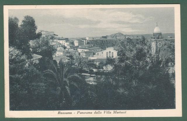 Calabria. ROSSANO, Cosenza. Panorama da Villa Martucci. Cartolina d'epoca viaggiata nel 1937