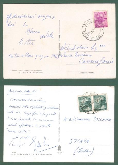 Calabria. CASTROVILLARI, Cosenza. Corso Garibaldi. Due cartoline d'epoca viaggiate nel 1963