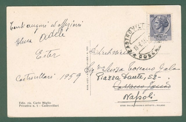 Calabria. CASTROVILLARI, Cosenza. Cartolina d'epoca viaggiata nel 1959.