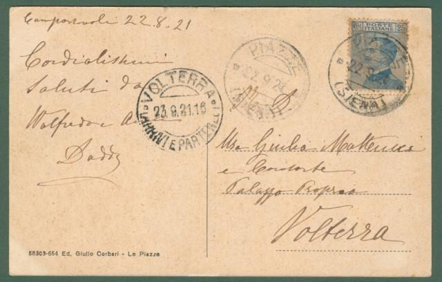 Toscana. LE PIAZZE, Siena. Cartolina d'epoca viaggiata nel 1921.