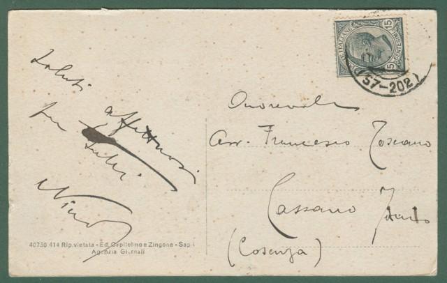 Campania. SAPRI, Napoli. Saluti da Sapri. Cartolina d'epoca viaggiata circa nel 1915.