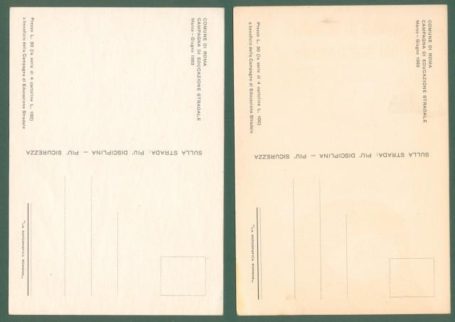 EDUCAZIONE STRADALE. Due cartoline d'epoca del 1963
