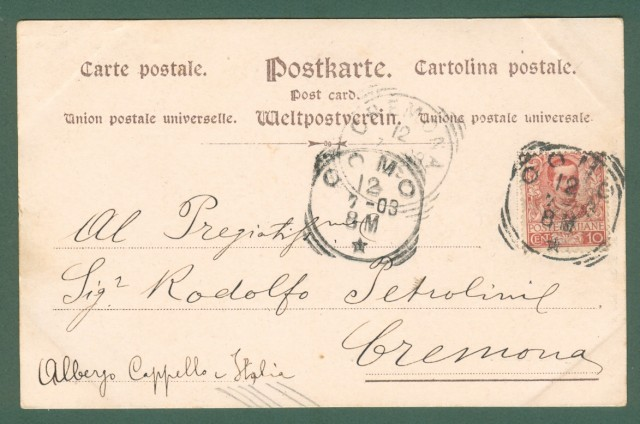 Lombardia. CAMPO, Lago di Como. Cartolina d'epoca viaggiata nel 1903