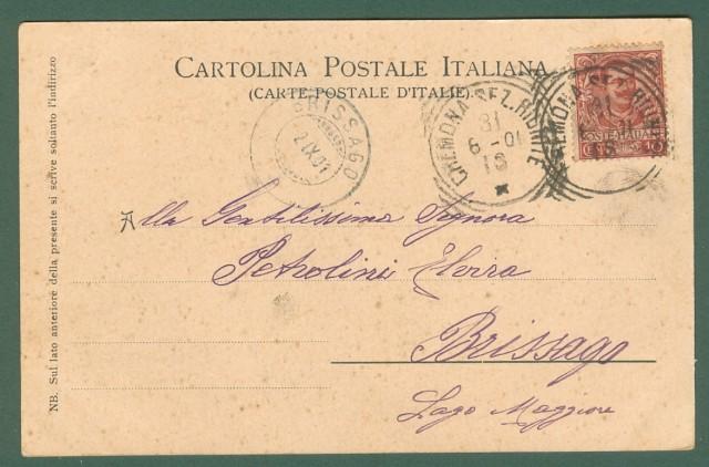 Lombardia. CREMONA. Sul gran ponte del Po. Cartolina d'epoca viaggiata nel 1901