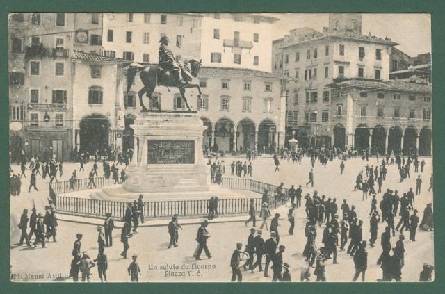Toscana. LIVORNO. Piazza Vittorio Emanuele. Cartolina d'epoca viaggiata nel 1912