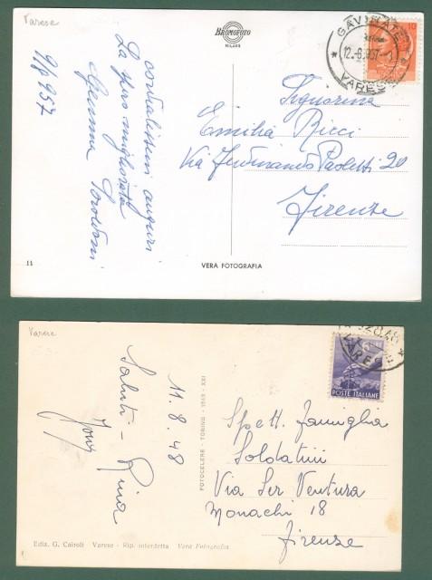 Lombardia. GAVIRATE, Varese. Due cartoline d'epoca viaggiate nel 1948 e 1957