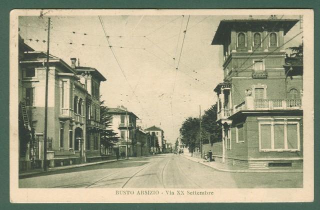Lombardia. BUSTO ARSIZIO, Varese. Via XX Settembre. Cartolina d'epoca viaggiata nel 1930