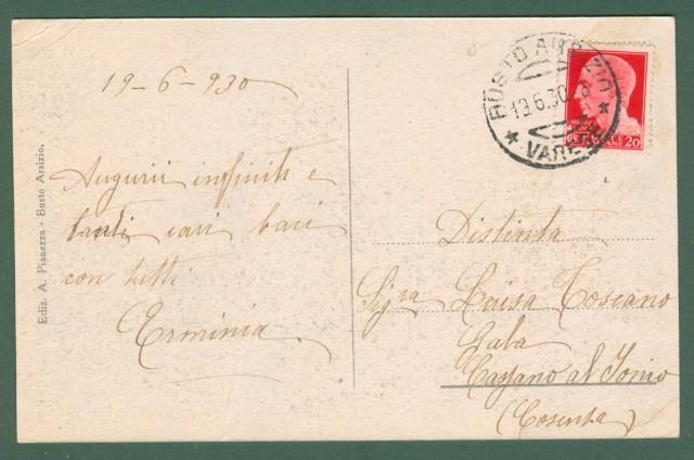 Lombardia. BUSTO ARSIZIO, Varese. Piazzale Ferrovia Stato. Cartolina d'epoca viaggiata nel 1930.