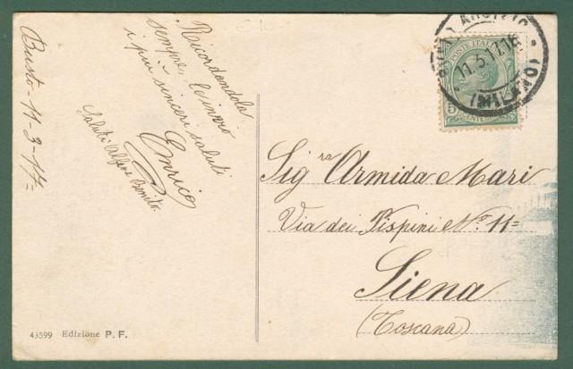 Lombardia. BUSTO ARSIZIO, Varese. Via Leonardo da Vinci e Chiesa del Sacro Cuore. Cartolina d'epoca viaggiata nel 1917.