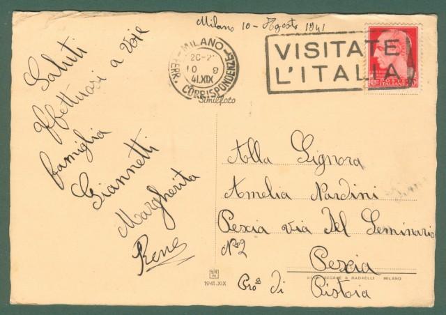 Lombardia. MILANO. Ristorante Rossi. Cartolina d'epoca viaggiata nel 1941