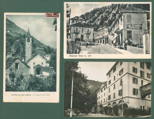 Piemonte. BOGNANCO, Novara. Tre cartoline d'epoca viaggiate nel 1946 e 1947