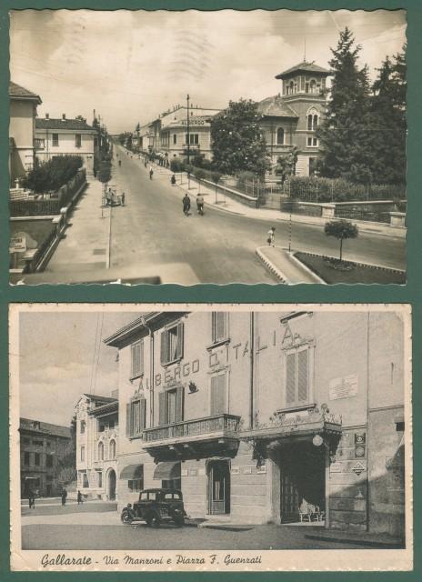 Lombardia. GALLARATE, Varese. Due cartoline d'epoca formato grande viaggiate nel 1940 e 1942.