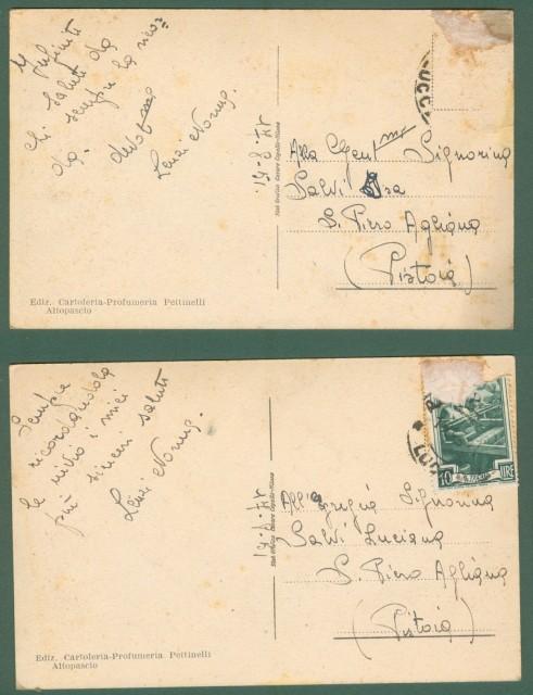 Toscana. ALTOPASCIO, Lucca. Via Cavour. Due cartoline d'epoca viaggiate nel 1951