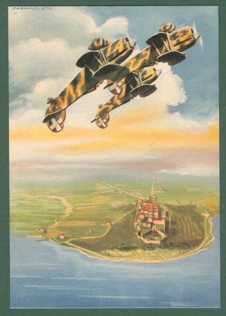 AVIAZIONE SECONDA GUERRA. Arma aeronautica. Disegno di Berthelet. Ediz. Boeri. Cartolina d'epoca circa 1940.