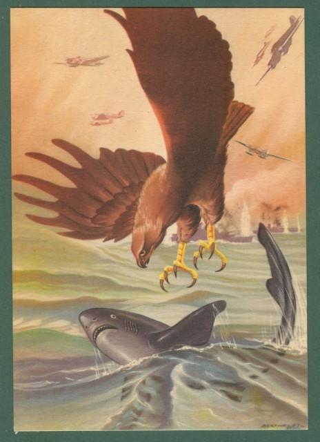 AVIAZIONE SECONDA GUERRA. Arma aeronautica. Disegno di Berthelet. Ediz. Boeri. Cartolina d'epoca circa 1940