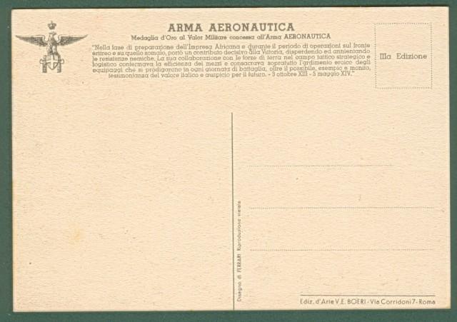AVIAZIONE SECONDA GUERRA. Arma aeronautica. Ediz. Boeri. Cartolina d'epoca circa 1940.