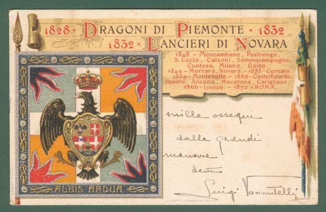 LANCIERI DI NOVARA. DRAGONI DI PIEMONTE. Cartolina d'epoca reggimentale a colori viaggiata nel 1907