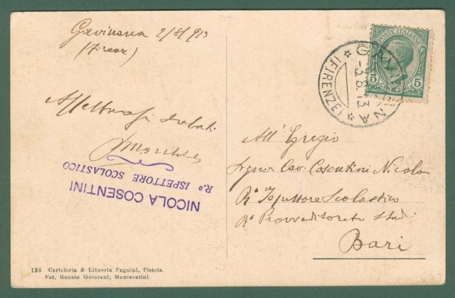 Toscana. GAVINANA, Pistoia. Cartolina d'epoca viaggiata nel 1913.