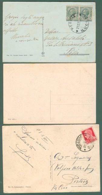Toscana. PESCIA. Tre cartoline d'epoca, due viaggiate nel 1922 e 1940