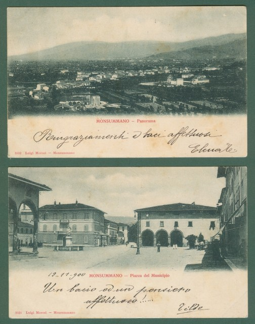 Toscana. MONSUMMANO, Pistoia. Due cartoline d'epoca viaggiate nel 1900 e 1901