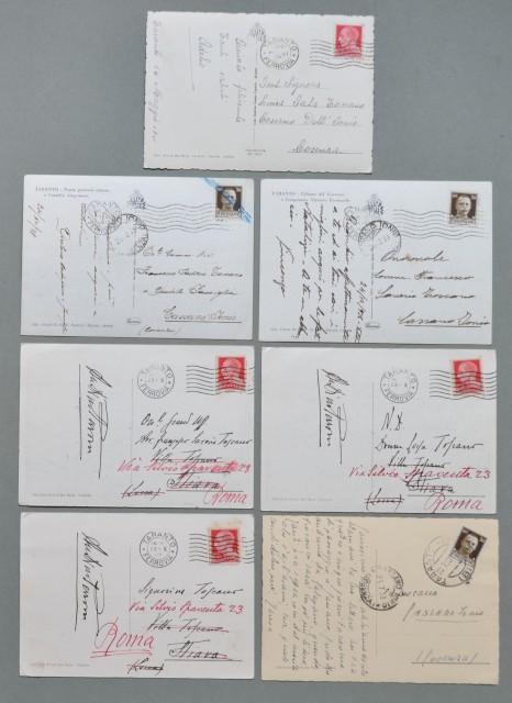 Puglia. TARANTO. Sette cartoline d'epoca formato grande tutte viaggiate tra il 1937 e il 1941.