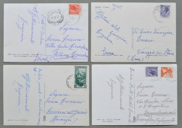 Campania. ISCHIA, Napoli. Quattro cartoline d'epoca formato grande viaggiate tra il 1954 e il 1965