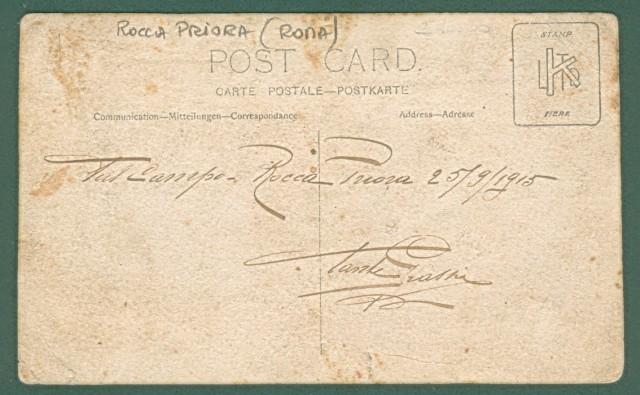 Lazio. ROCCA PRIORA, Roma. Dal Campo Rocca Priora, 25.9.1915. Cartolina fotografica d'epoca.