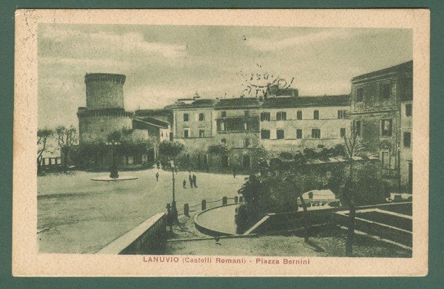 Lazio. LANUVIO, Roma. Piazza Bernini. Cartolina d'epoca viaggiata nel 1922.