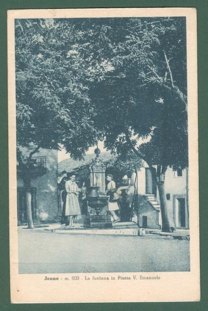 Lazio. JENNE, Roma. La fontana in Piazza Vittorio Emanuele. Cartolina d'epoca viaggiata nel 1935.