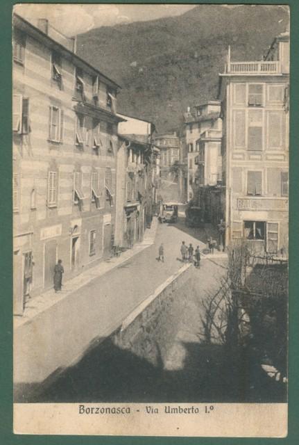 Liguria. BORZONASCA, Genova. Via Umberto. Cartolina d'epoca viaggiata nel 1923
