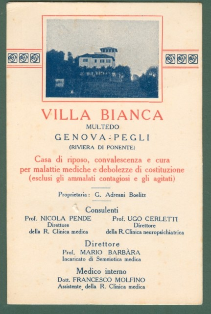 Liguria. MULTEDO, Genova. Villa Bianca. Cartolina d'epoca non viaggiata, circa 1930