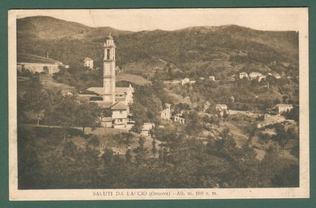 Liguria. LACCIO, Genova. Cartolina d'epoca viaggiata anni '30.