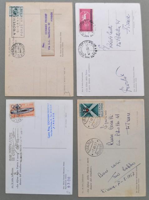 GIORNATA FORZE ARMATE E COMBATTENTE, 4 NOVEMBRE. Quattro cartoline a colori d'epoca viaggiate 1954- 1957 - 1959 - 1962